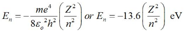 Total energy of Electron in Bohr's Stationary Orbits: