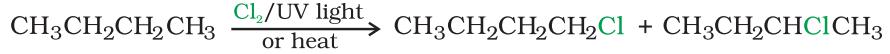 By free radical halogenation