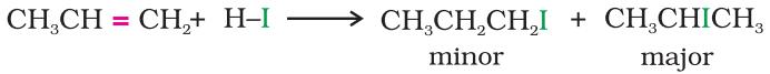 Addition of hydrogen halides- Markovnikov's rule