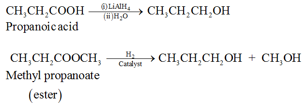 By catalytic reduction of carboxylic acids and esters