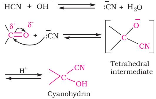 Addition of hydrogen cyanide (HCN)