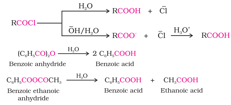 Preparation of Carboxylic Acids From acyl halides and anhydrides