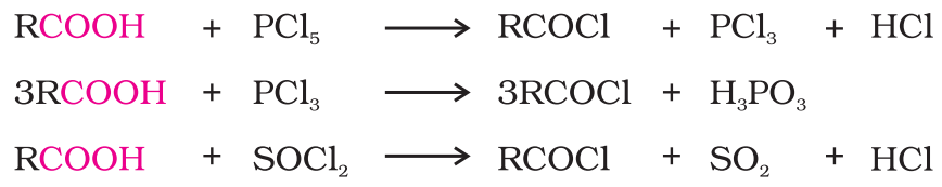 Reactions with PCl5, PCl3 and SOCl2